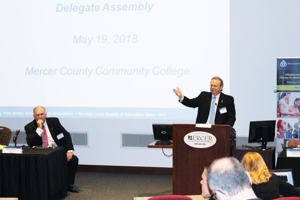 """Dr. Lawrence S. Feinsod, executive director of NJSBA, addressed delegates and presented his report on NJSBA activities, entitled """"A Year of Progress."""""""